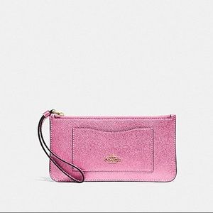 Coach Metallic Zip Top Wallet Clutch